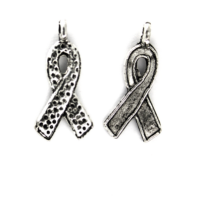Charms,Awareness Ribbon, Silver, Alloy, 21mm X 10mm X 1mm, Sold Per pkg of 8