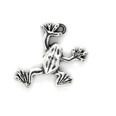 Charms, Webby Frog, Silver, Alloy, 25mm X 19mm X 4mm, Sold Per pkg of 4