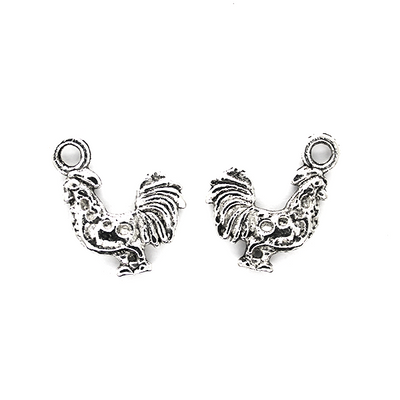 Charms, Evil Rooster, Silver, 20mm X 19mm X 3mm, Sold Per pkg of 4