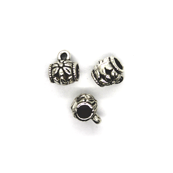 Spacers, Flower Cup with Loop, Alloy, Silver, 8mm X 8mm, Sold Per pkg of 16 - Butterfly Beads