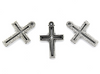 Charms, See-Through Latin Cross, Silver, Alloy, 22mm x 15mm x 2mm, Sold Per pkg 5