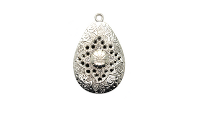 Pendants, Leaf Shield, Silver, Alloy, 50mm X 32mm X 5mm, Sold Per pkg of 1