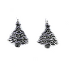 Charms, Christmas Tree with Ornament, Silver, Alloy, 24mm X 18mm, Sold Per pkg of 4