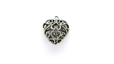 Pendants, Heart of Hearts, Silver, Alloy, 26mm x 23mm, Sold Per pkg of 1
