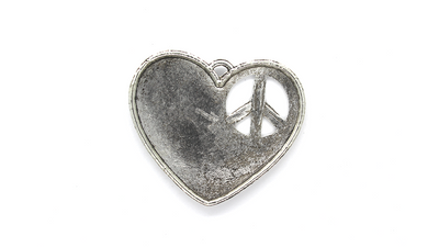 Pendants, Heart of Peace, Silver, Alloy, 35mm X 42mm, Sold Per pkg of 2