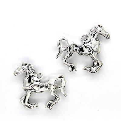 Charms, Horse, Silver, Alloy, 25mm X 34mm, Sold Per pkg of 2