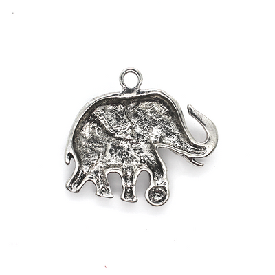 Pendants, Circus Elephant, Silver, Alloy, 35mm x 36mm X 4mm, Sold Per pkg of 2