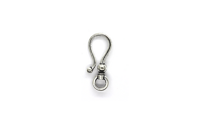 Clasp, Hook and Eye Clasp, Silver, Alloy, 37mm x 15mm x 6mm, Sold Per pkg of 4