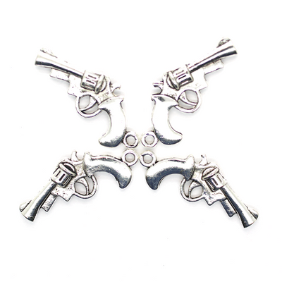 Charms, Revolver, Silver, Alloy, 28mm X 16mm, Sold Per pkg of 4