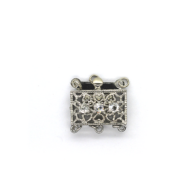 Clasp, Rhinestone Box Clasp, Silver, Alloy, 17mm x 17mm x 7mm, Sold Per pkg of 1