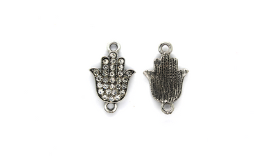 Pendants, Crystallized Hamza Hand, Silver, Alloy, 26mm x 17mm, Sold Per pkg of 2
