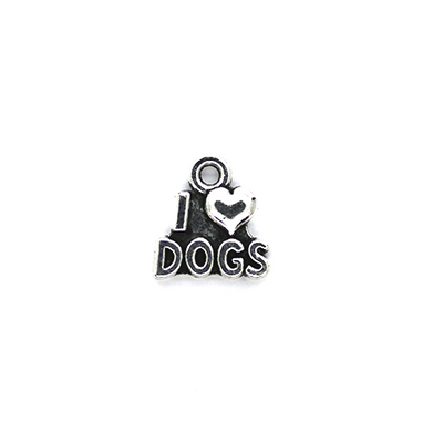Charms, I Love Dogs, Silver, Alloy, 14mm x 12mm, Sold Per pkg 6