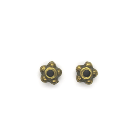 Spacers, Small Gear Spacer, Brass, Alloy, 3mm X 5mm X 5mm, Sold Per pkg of 25