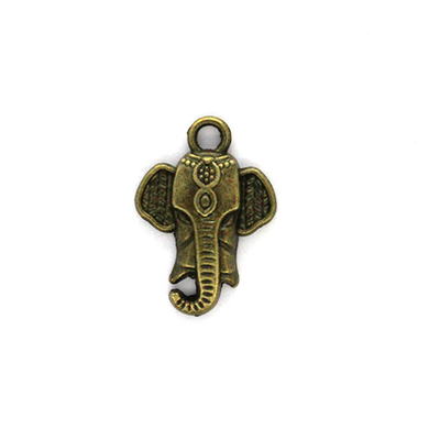 Charms, Elephant Head, Bronze, Alloy, 22mm X 15mm X 4mm, Sold Per pkg of 5