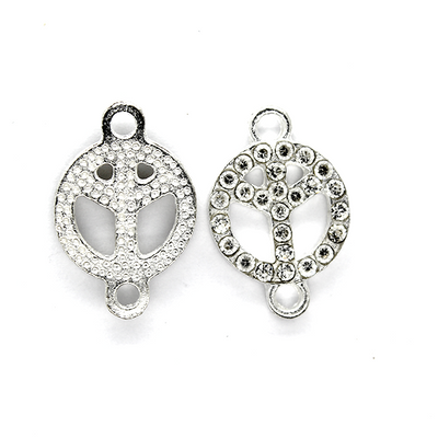 Pendants, Bejeweled Peace Sign, Silver, Alloy, 19mm x 12mm X 2mm, Sold Per pkg of 2