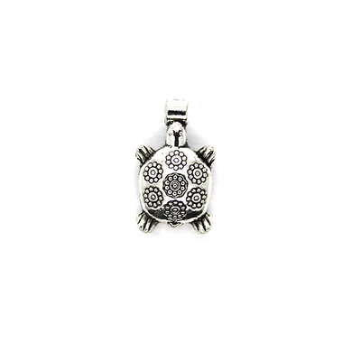 Charms, Flower Spotted Turtle, Silver, Alloy, 19mm X 11mm X 6mm, Sold Per pkg of 6