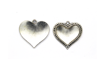 Pendants, Dotted Heart, Silver, Alloy, 27mm X 28mm X 2mm, Sold Per pkg of 2