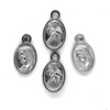 Charms, Mary & Jesus Portrait, Silver, Alloy, 13mm x 7mm, Sold Per pkg 12