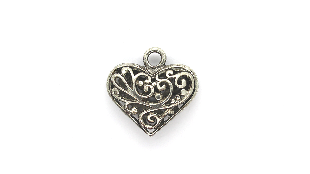 Pendants, Vine Heart, Silver, Alloy, 30mm x 31mm X 8mm, Sold Per pkg of 1