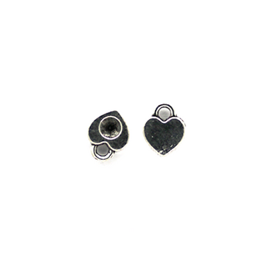 Charms, Rhinestone Heart Filler, Silver, Alloy, 7mm X 6mm, Sold Per pkg of 12