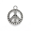 Pendants, Graved Dotted Peace Sign, Silver, Alloy, 22mm x 18mm X 2mm, Sold Per pkg of 4