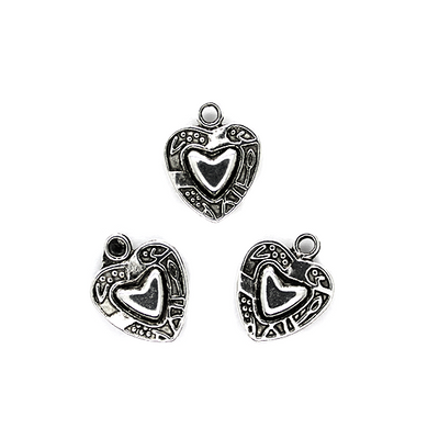 Charms, Bordered Heart, Silver, Zinc Alloy, 16mm X 13mm, Sold Per pkg of 5
