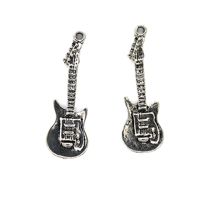 Charms, Telecaster Electric Guitar, Silver & Bronze, Alloy, 30mm X 10mm, Sold Per pkg of 3