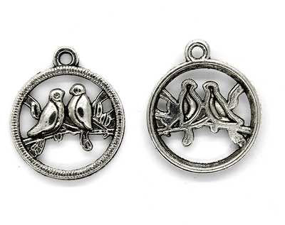 Pendants, Love Birds, Silver, Alloy, 23mm X 20mm, Sold Per pkg of 2