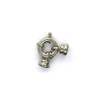 Clasp, Spring Piece Clasp, Silver, Alloy, 25mm x 17mm x 9mm, Sold Per pkg of 1