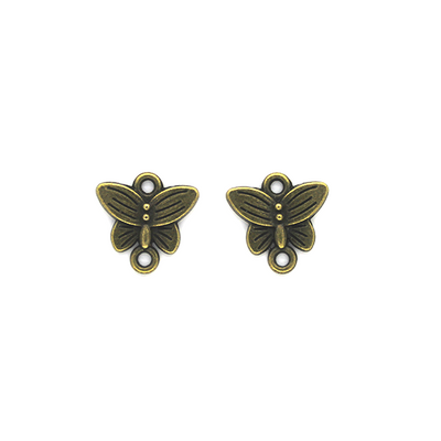 Charms, Dual Winged Butterfly, Bronze, Alloy, 14mm X 14mm, Sold Per pkg of 6