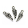 Charms, Stitched Wings, Silver, Zinc Alloy, 18mm X 6mm, Sold Per pkg of 8