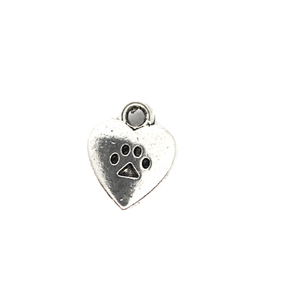 Charms, Paw Heart, Silver, Alloy, 10mm X 12mm X 3mm, Sold Per pkg of 12