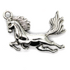 Pendants, Leaping Pegasus, Silver, Alloy, 33mm x 50mm, Sold Per pkg of 2
