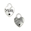 "Charms, ""Mom"" Heart Lock, Silver, Alloy, 23mm X 18mm X 3mm, Sold Per pkg of 3"