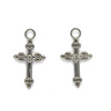 Pendant, Tri-Bottoni Cross, Silver, Alloy, 19mm x 10mm, Sold Per pkg 12