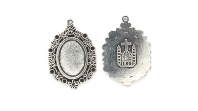 Pendants, Framed Bezel with Church, Silver, Alloy, 35mm X 24mm X 2mm, Sold Per pkg of 2