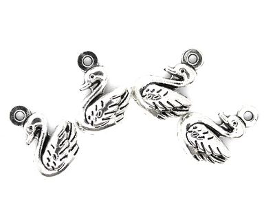 Charms, Mini Swan, Silver, Alloy, 14mm X 11mm X 3.5mm, Sold Per pkg of 12
