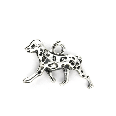 Charms, Dalmation Dog, Silver, 22mm X 15mm X 3mm, Sold Per pkg of 4
