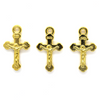 Pendant, Small Inri Crucifix, Gold, Alloy, 20mm x 12mm x 3mm, Sold Per pkg 12