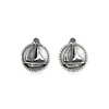 Charms, Framed Sail Boat, Silver, Alloy, 18mm X 15mm, Sold Per pkg of 5