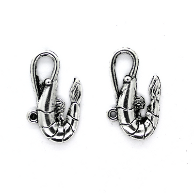 Charms, Long Shrimp, Silver, Alloy, 15mm X 28mm, Sold Per pkg of 4