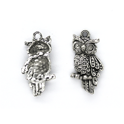 Charms, Pointy Brow Owl, Silver, Alloy, 24mm X 9mm X 3mm, Sold Per pkg of 4