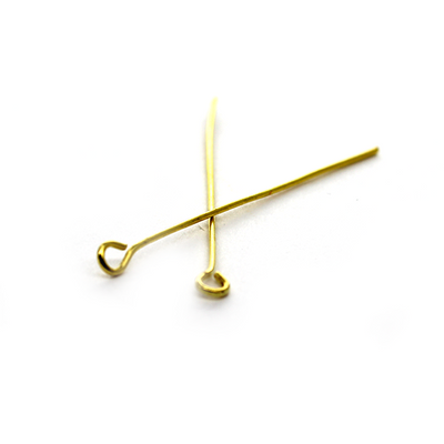 Eye Pins, Gold, Alloy, 1.50 inch, 22 Gauge