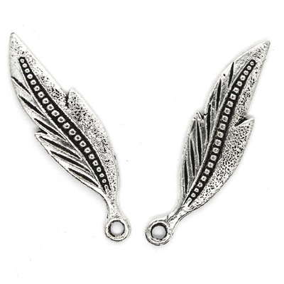 Charms, Falcate Leaf, Silver, Alloy, 34mm X 9mm X 1mm, Sold Per pkg of 12