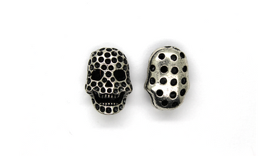 Pendants, Spotted Skull, Silver, Alloy, 20mm X 15mm, Sold Per pkg of 2