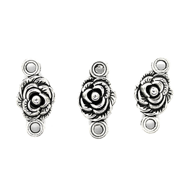 Charms, Multi-layered Rose, Silver, Alloy, 19mm X 9mm X 6mm, Sold Per pkg of 8