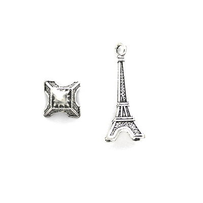 Charms, Mini Rigid Eiffel Tower, Silver, Alloy, 30mm x 11mm x 11mm, Sold Per pkg 4