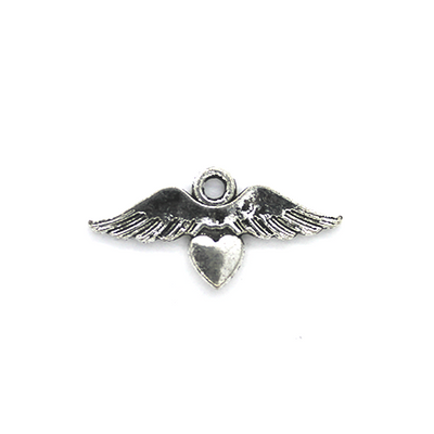 Charms, Wings with Heart , Silver, Alloy, 23mm X 11mm, Sold Per pkg of 6