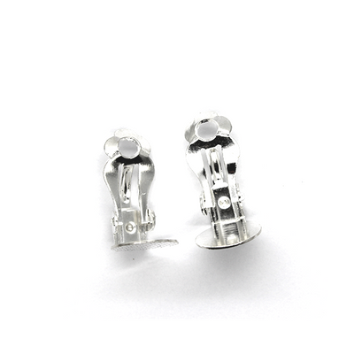 Earrings, Silver, Alloy, Dotted Earring Clip, 18mm x 10mm, sold per pkg of 2