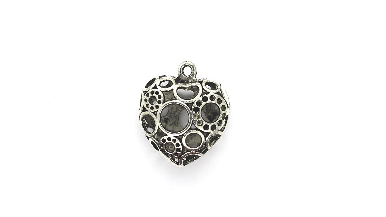 Pendants, Heart of the Void, Silver, Alloy, 34mm x 29mm X 12mm, Sold Per pkg of 1